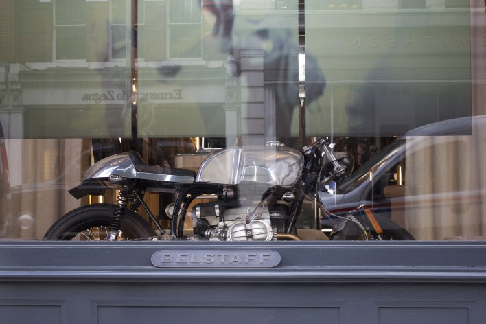 "ecc9ca4f8b9 Kevils Speed Shops 2013 Demo Bike ""Ace"" Finds New Home For The Winter In Belstaff  Flagship Store London,"
